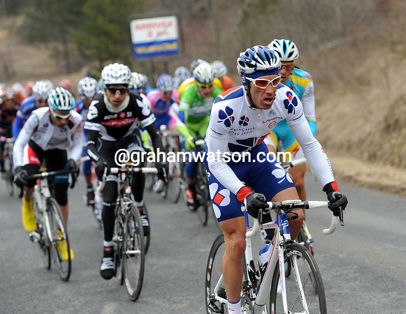 Christophe LeMevel makes his move at the foot of the final climb...and also gets nowhere...