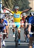Alberto Conatdor celebrates his overall win in Paris-Nice - he also won in 2007..!