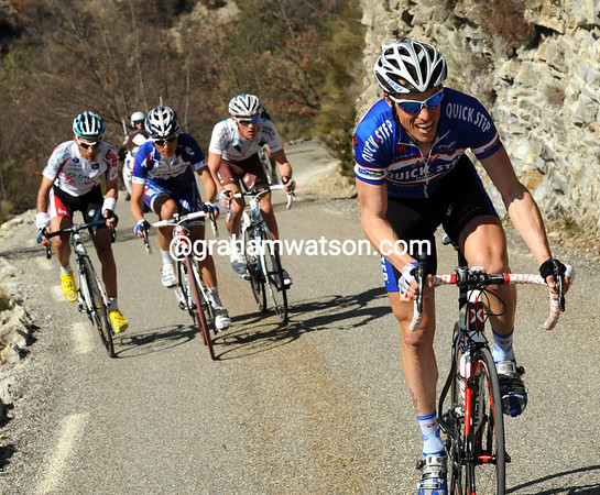 Sylvain Chavanel is trying to start the day's first real escape - but he'll get nowhere at the moment...