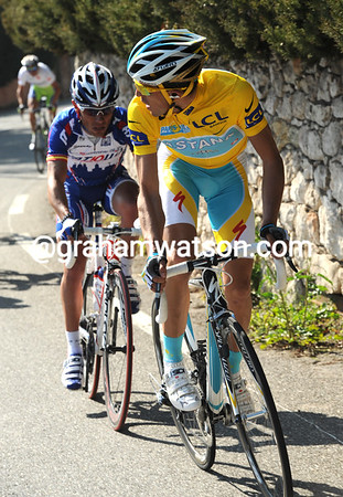 Contador looks back to see Kreuziger (in white) cannot keep pace...so that's his plan..?