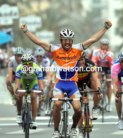 It's Oscar Freire - the Spaniard has just won his third Milan San Remo..!
