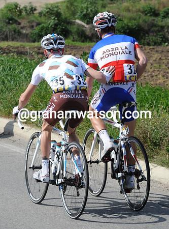 Dmitri Champion gets a helping hand from team John Gadret...