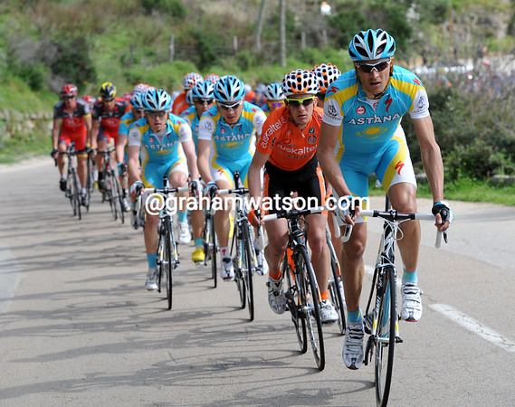 Astana takes over from Euskatel at the front, both teams have all the chasing to themselves...