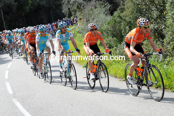 Euskatel are the first to take up the chase as the climbs begin with 70-kilometres to go...