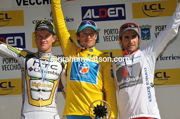 Pierrick Fedrigo shares his winner's podium with runner-up Michael Rogers and 3rd-placed Tiago Machado...