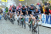 Stuart O'Grady leads the peloton along the Oude Kwaremont in pursuit..