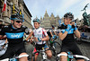 Brits' on tour - Ian Stannard, Adam Blyth and Ben Swift await the start in Antwerp...
