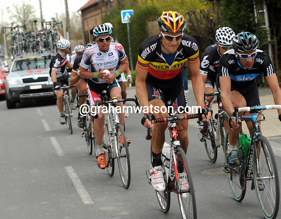Their faces say it all - Boonen, Flecha and Hushovd are doomed to a supporting role in Cancellara's wake...