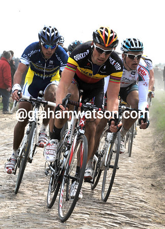Tom Boonen looks strong and concentrated as he closes another gap...