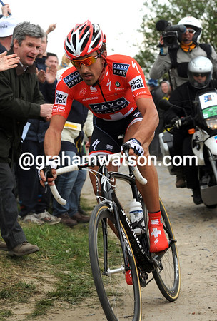 Cancellara is almost three minutes ahead at the Cysoing cobbles...