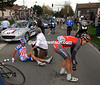 Bjorn Selander (right) is the unlucky victim of a crash soon after Orchies...
