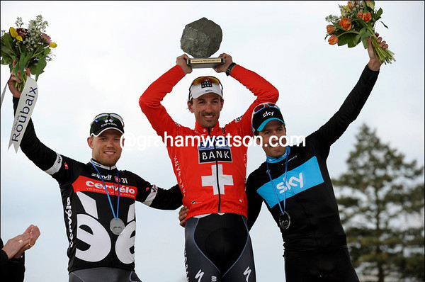 Everyone's a winner - Cancellara shares his podium with Hushovd and Flecha...