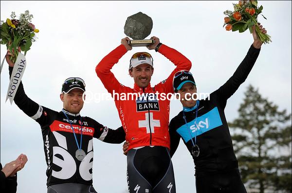 Everyone's a winner - Cancellara shares his podium with Hushovd and Flecha...
