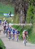 Lars Boom leads the peloton down a steep descent near the first feed-zone...
