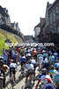 The peloton squeezes through the narrow streets of Elsloo after just five-kilometres...