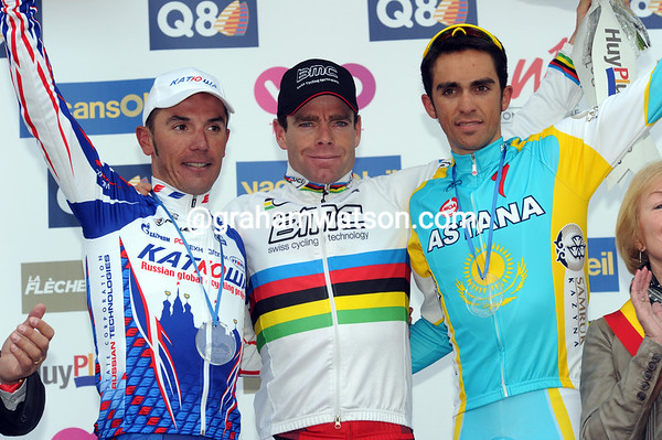 That's a powerful podium in Cadel Evans, Joachin Rodriguez and Alberto Contador!