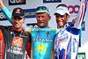 The three Alexanders - Vinokourov, Kolobnev and Valverde - pose on the podium