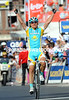 Alexandre Vinokourov wins Liege-Bastogne-Liege after attacking Kolobnev in the last kilometre...