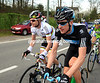 With the escape flying away, Cadel Evans swaps notes with Bradley Wiggins at the back of the peloton...