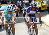 Vinokourov and Kolobnev are 30-seconds ahead on this final ascent...