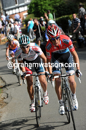 Andy Schleck has attacked on the following hill, taking Philippe Gilbert with him as they blast past Tankink...