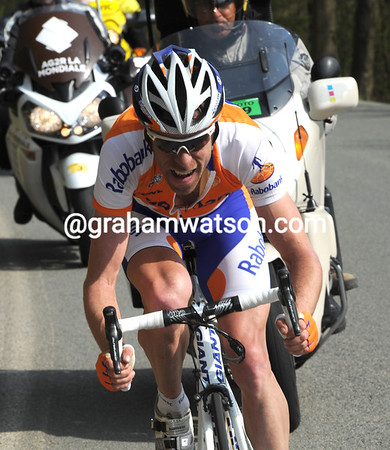 Bram Tankink makes the most of a regroupment to escape with 30-kilometres to go...