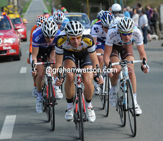 Thomas de Gendt is leading a charge of eight riders at the start of the day...