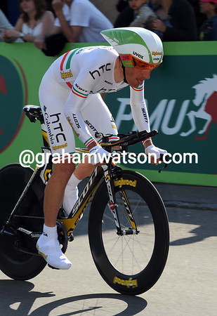 Marco Pinotti won today's Prologue time trial at an average speed of almost 49-kilometres-per-hour!
