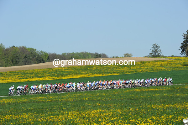 Things could be worse than a day in this office - the peloton experiences the countryside around Porrentruy