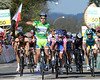 Peter Sagan wins stage one of the Tour de Romandie, ahead of Francesco sGavazzi and Nicholas Roche (out of shot)