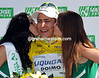 He's beginning to enjoy his fame - Peter Sagan is all smiles on the podium as the new race-leader...