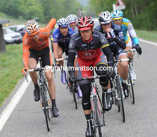 Matthew Busche is in a six-man escape that got away after 45-kilometres or so...