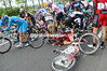 An even bigger crash with 45-kilometres to go has caused mayhem....