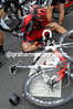 A BMC rider is worse off with what looks like a damaged shoulder and ribs...