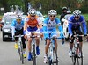 Four men are away and gaining time rapidly - led by Stefano Pirazzi...