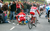 Moments later, Guillaume Blot hits a spectator and crashes...