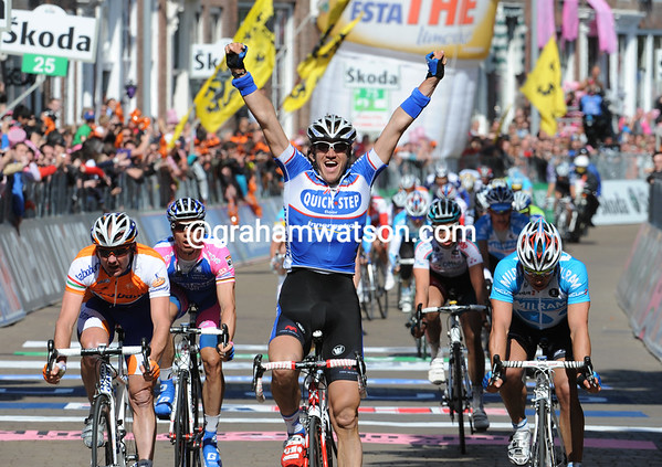 Wouter Weylandt wins stage three from Graeme Brown and Robert Forster
