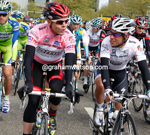 """""""Listen to me boy and you'll learn"""" - Australia's Cadel Evans chats with youthful compatriot, Richie Porte..."""