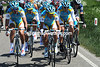 The Astana team is the chief antagonist at the front of the wind-blown peloton...