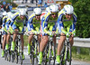 Ivan Basso led LIquigas to 1st place at a speed of over 54-kilometres-per-hour - their dry ride beat Sky's wet ride by 13-seconds...
