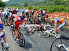 THE BIG CRASH ON STAGE SIX OF THR 2010 GIRO D'ITALIA<br /> <br /> A mass spill on slippery roads has brought down about 30 riders after 40-kilometres...