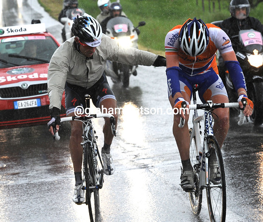 This is a sporting escape - Sorensen pushes Flens after the Dutchman pulled his foot out on a climb...
