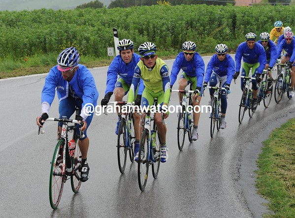 Liquigas and Lampre are chasing a ten-minute gap after 150-kilometres...