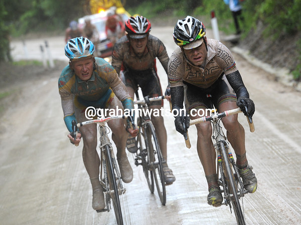 Evans and Vinokourov have been joined by Spain's David Arroyo...