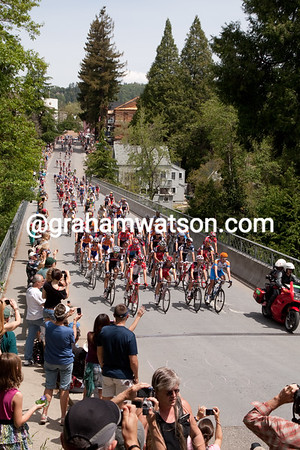 A star studded field rolls out of Nevada City to start the first stage of the Amgen Tour of California.