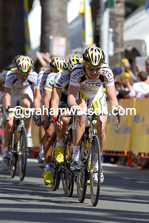 Entering Sacramento's city center, Lars Bak sets a blistering pace as the peloton nears the finish line start the first of three finishing circuits.