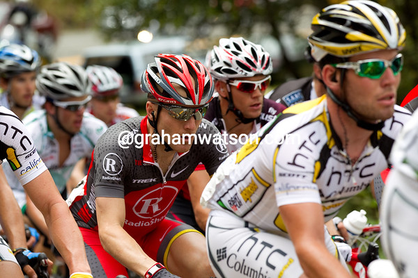 Levi Leipheimer sits in the lead pack as the peloton climbs highway 49 towards the KOM.