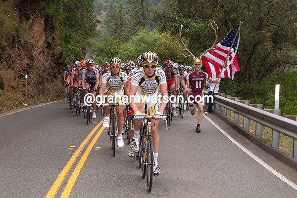 Lars Bak of HTC Columbia easily leads the peloton up towards the first KOM past Dore Holte.