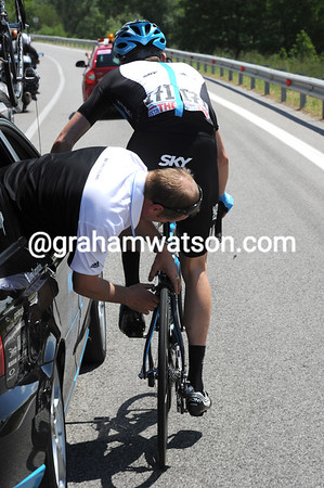 At the back end of the race, Bradley Wiggins needs his bike tuned up...