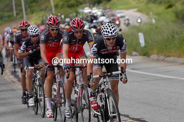 Cervelo and RadioShack are now driving the pace on the front...